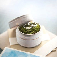 """Rustic Ring Bearer Pillow Box with Mossy Interior - """"I Promise"""" - Rustic Weddings - (RB-3)"""