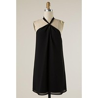 Front Knot Halter Dress - Black