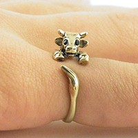 Animal Wrap Ring - Cow - Yellow Bronze - Adjustable Ring - Keja Jewelry