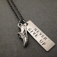 RUN and NEVER GIVE UP Dog Tag Style Necklace on 18 inch Gunmetal Chain - Pewter Running Shoe Charm with Hand Hammered Nickel Silver Hand Stamped Pendant