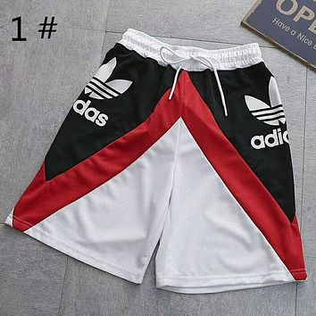 Adidas New fashion summer print mesh splice women and men loose leisure shorts