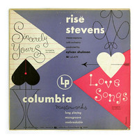 "Alex Steinweiss record album design, 1949. ""Risë Stevens: Sincerely Yours / Love Songs"" LP"