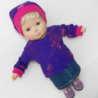 """HANDMADE CLOTHES, made to fit your 15"""" bitty, baby doll, purple shirt & skirt"""