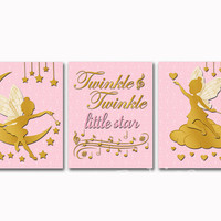 Nursery art pink gold fairy wall decor baby girl room artwork shower decoration toddler poster newborn typography print Twinkle Little Star