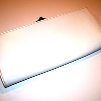 White Leather Vintage Clutch Two Compartments, Center Zipper Beautiful Blue Interior in Excellent Condition