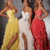 Mac Duggal Prom Dresses - White Ruched & Ruffled Organza Strapless Sweetheart Drop Waist Prom Gown