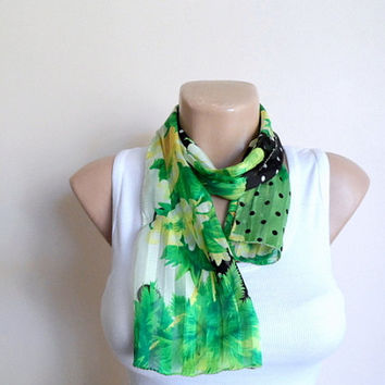 Silk Chiffon Scarf with Floral Pattern Dotted Women Scarf in Green Yellow Black