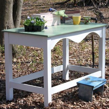 Garden Table Moss Green White by LoCoWoodworking on Etsy