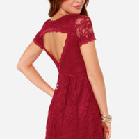 By Candlelight Wine Red Lace Dress