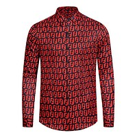 FENDI Fashion Men Casual F Letter Long Sleeve Lapel Shirt Top Red