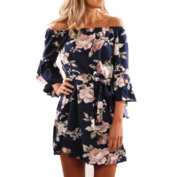 Fashion Flower Print Sexy Off Shoulder Middle Sleeve Loose Mini Dress