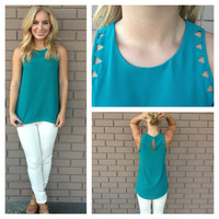 Teal Triangle Cut Out Sleeveless Blouse