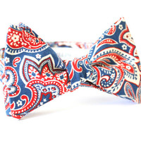 Red White And Blue Paisley Bow Tie Handmade by Lord Wallington / Men's Bow Tie / Blue Paisley Bow Tie /Red Paisley Bow Tie / Mens Bow Tie