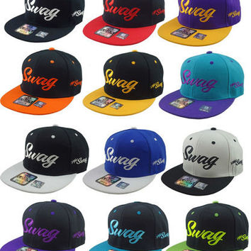 NEW VINTAGE SWAG FLAT BILL SNAPBACK CAP HAT MANY COLORS AVAILABLE