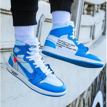 Vsgirlss NIKE AIR JORDAN 1 & Off White New fashion hook couple high top contrast color shoes 1