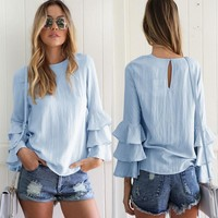 Casual Blouse Loose Summer Blouse Shirts Tops New Fashion Women Lady Clothes Tops Long Sleeve Shirt