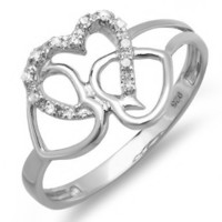 0.10 Carat (ctw) Sterling Silver Round Diamond Ladies Promise Three Heart Infinity Love Engagement Ring 1/10 CT:Amazon:Jewelry