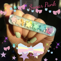 "Sparkling Pastel Galaxy Knuckle Duster ""double finger ring"""