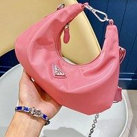 Onewel Prada armpit bag cloud bag hobo hot bag chain bag hobo cloud bag pink
