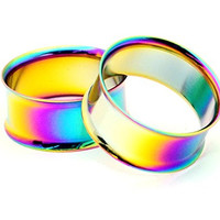"Rainbow Steel Double Flare Tunnels - 5/8"" - 16mm - Sold As a Pair"