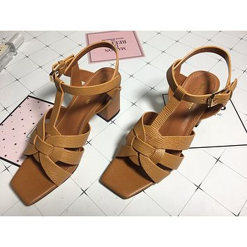 ysl women casual shoes boots fashionable casual leather women heels sandal shoes 169