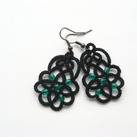 Black lace earrings Carousel, black necklace with emerald beads, tatted earrings, tatting jewelry