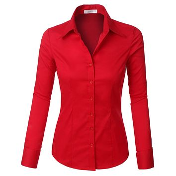 Plus Size Classic Easy Care Long Sleeve Button Down Shirt with Stretch (CLEARANCE)