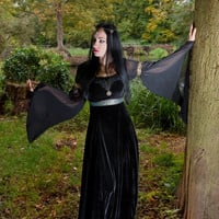 Handmade 'Raevena dress' Gothic Velvet Chiffon Medieval Pagan Dress