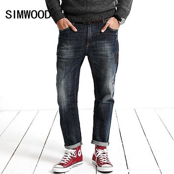 New Winter leather  Patchwork Warm Robin  Jeans Men Fashion Trousers