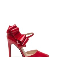 Bow Down Faux Patent Heels
