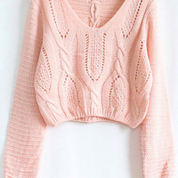 Pink Hollow Crop Cable Knit Sweater - Sheinside.com