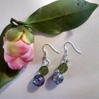 Lilac and Lime Sterling Silver Dangle Bead Earrings Matching Bracelet Available Boho Chic Wedding Friend Easter Mothers Day