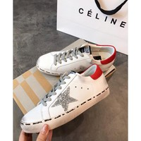 Golden Goose Ggdb Hi Star Sneakers With Glittery Star And Red Laminated Heel Tab - Best Deal Online