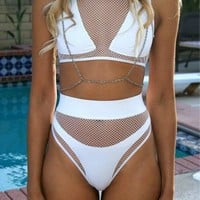 High Waist Sexy Bikini Set Mesh Patchwork Women Bathing Suits Transparent Swimming Suit Swimwear Biquini Maillot De Bain S65443R