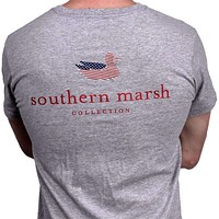 Authentic Flag Tee in Light Gray by Southern Marsh