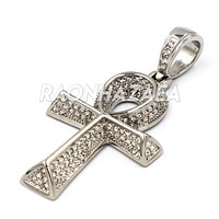 Hip Hop Stainless Steel Egyptian Ankh Pendant W Cuban Chain.