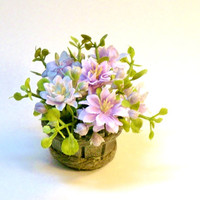 Pale Rainbow Purple Blue Flowers in Wood Pail Fairy Garden Miniature Dollhouse Plant