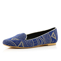 Blue tribal embroidered slip-ons - pumps / slippers - shoes / boots - women