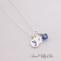 Sterling Silver Mother's Necklace with Personalized Heart Charm, New Mom Necklace, Baby Gift, Memorial Necklace