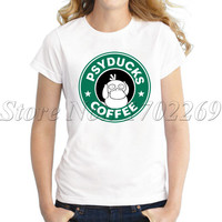 Psyducks Coffee funny design Women t-shirt short sleeve round neck casual lady tops hipster fashion letter printed tee shirts