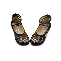 Vintage Embroidered Flat Ballet Ballerina Black Cotton Mary Jane Chinese Shoes for Women in Beautiful Floral Designs