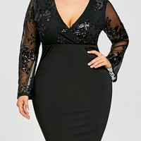 Sequins Plus Size Mesh Panel Surplice Dress