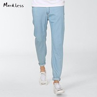 Fashion Men's Washed Jeans Male Summer Thin Fluid Light Color Skinny Pants Slim Pencil Casual Jeans Linen Trousers