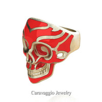 Mens Modern Italian 14K Yellow Gold Red Enamel Skull Ring R635-14KYGSRE