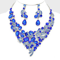Sapphire blue rhinestone silver Necklace set