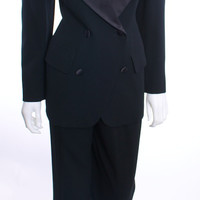 DONNA KARAN 2 PIECE BLACK WOOL PANT SUIT BLAZER SIZE 4 PANTS SIZE 8
