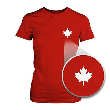 Canada Flag Pocket Printed Shirt Cute Women's Round Neck Tee for Canadian