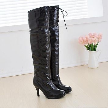Patent Leather Thigh High Boots High Heels Shoes Woman 3331