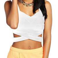 White Strappy Cut Out Bralet Top