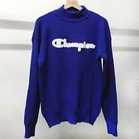 Champion Autumn And Winter New Fashion Bust Letter Women Men Long Sleeve Top Sweater Blue